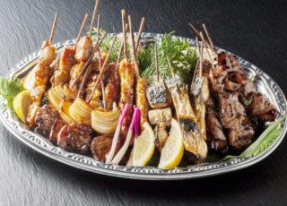 638牛肉、鶏きも、焼き鳥、焼き鯖串盛り合わせ